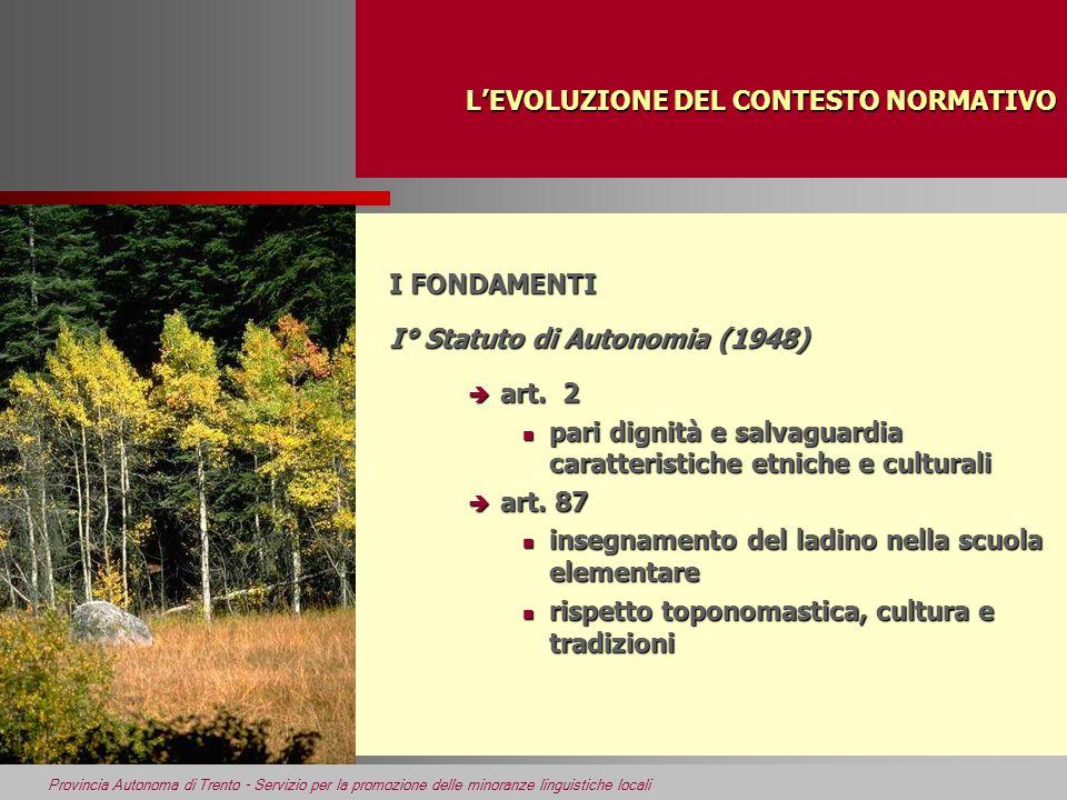Provincia Autonoma di Trento - Servizio per la promozione delle minoranze linguistiche locali LEVOLUZIONE DEL CONTESTO NORMATIVO LEVOLUZIONE DEL CONTESTO NORMATIVO I FONDAMENTI II° Statuto di Autonomia (1972) è art.