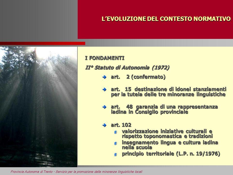 Provincia Autonoma di Trento - Servizio per la promozione delle minoranze linguistiche locali LEVOLUZIONE DEL CONTESTO NORMATIVO LEVOLUZIONE DEL CONTE