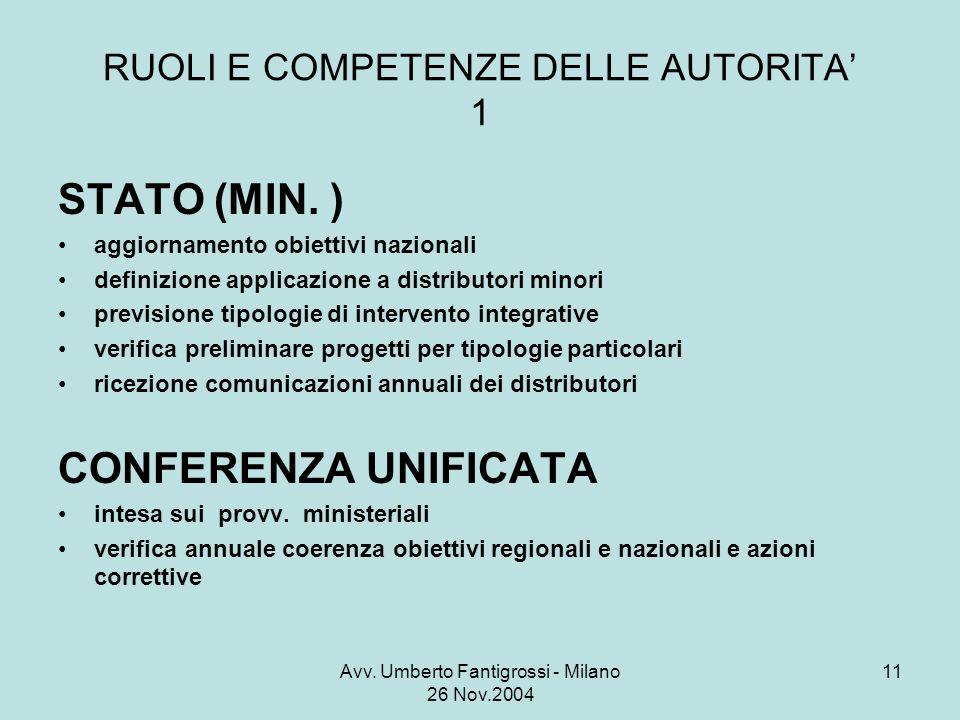 Avv. Umberto Fantigrossi - Milano 26 Nov.2004 11 RUOLI E COMPETENZE DELLE AUTORITA 1 STATO (MIN.