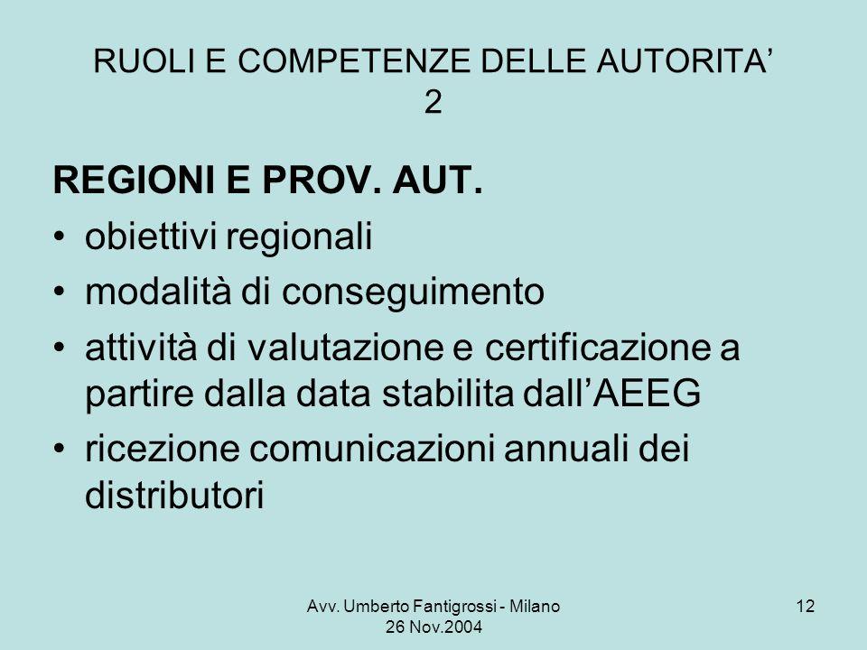 Avv. Umberto Fantigrossi - Milano 26 Nov.2004 12 RUOLI E COMPETENZE DELLE AUTORITA 2 REGIONI E PROV. AUT. obiettivi regionali modalità di conseguiment