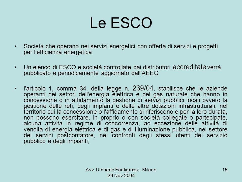 Avv. Umberto Fantigrossi - Milano 26 Nov.2004 15 Le ESCO Società che operano nei servizi energetici con offerta di servizi e progetti per lefficienza