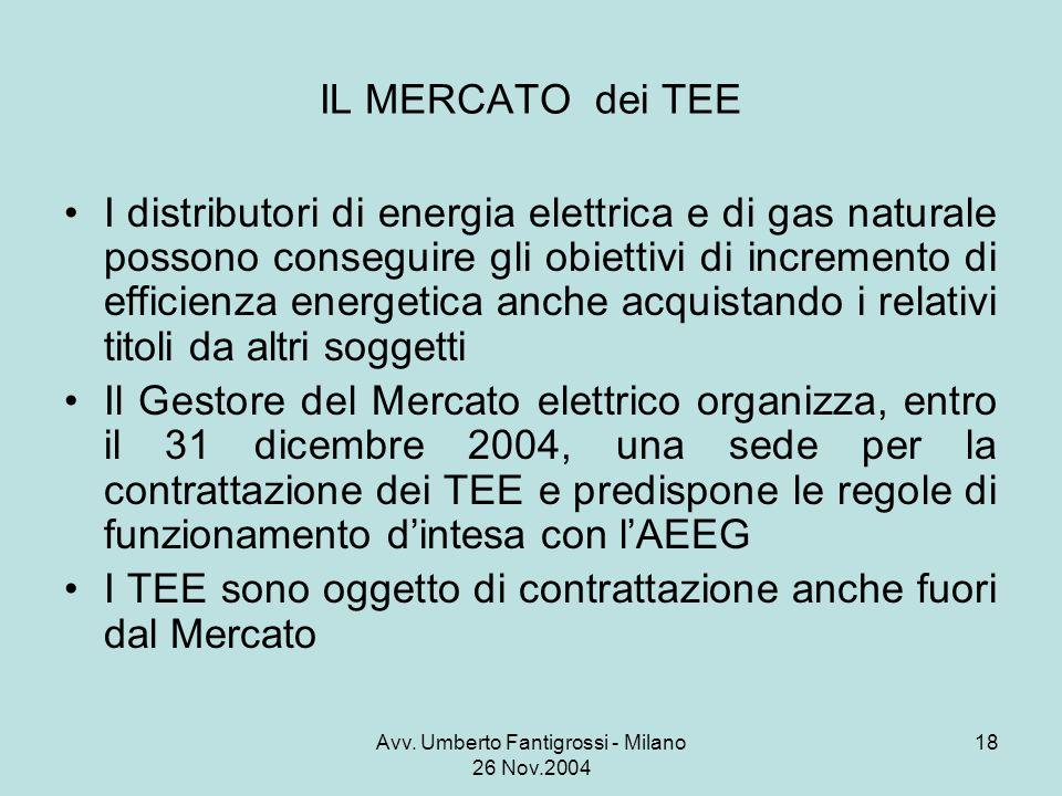 Avv. Umberto Fantigrossi - Milano 26 Nov.2004 18 IL MERCATO dei TEE I distributori di energia elettrica e di gas naturale possono conseguire gli obiet