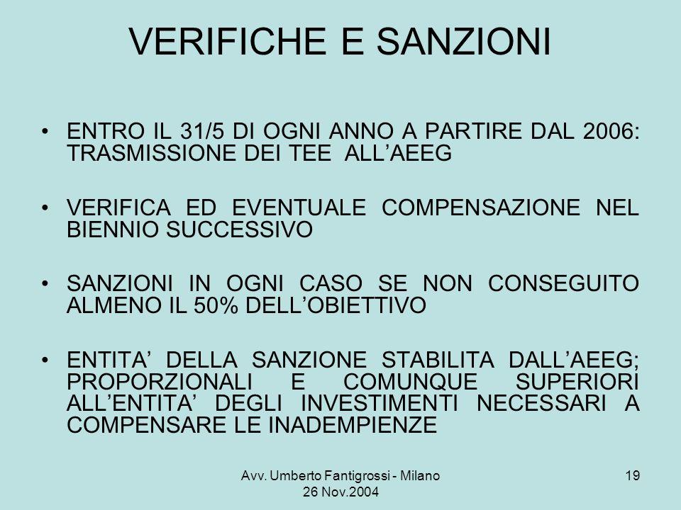 Avv. Umberto Fantigrossi - Milano 26 Nov.2004 19 VERIFICHE E SANZIONI ENTRO IL 31/5 DI OGNI ANNO A PARTIRE DAL 2006: TRASMISSIONE DEI TEE ALLAEEG VERI