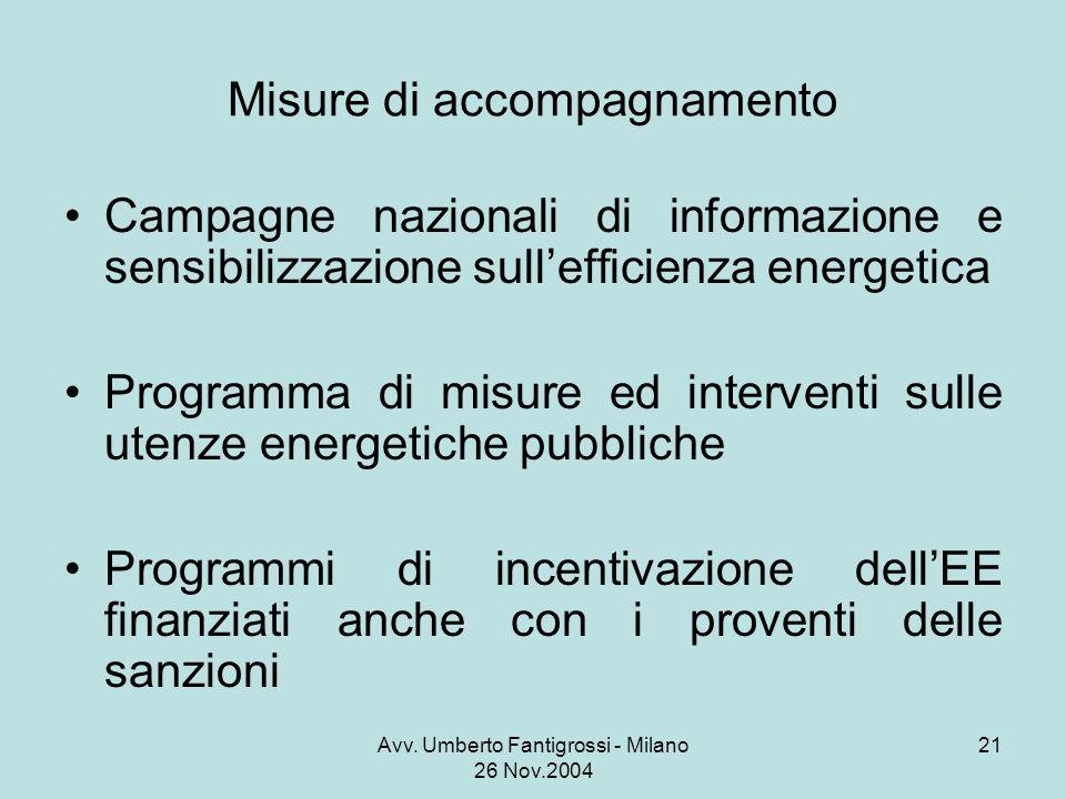 Avv. Umberto Fantigrossi - Milano 26 Nov.2004 21 Misure di accompagnamento Campagne nazionali di informazione e sensibilizzazione sullefficienza energ