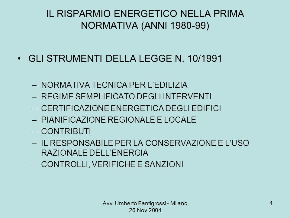 Avv. Umberto Fantigrossi - Milano 26 Nov.2004 4 IL RISPARMIO ENERGETICO NELLA PRIMA NORMATIVA (ANNI 1980-99) GLI STRUMENTI DELLA LEGGE N. 10/1991 –NOR