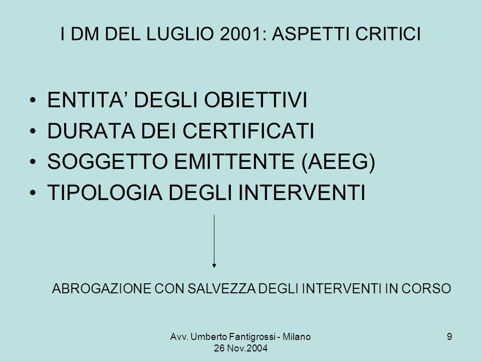 Avv. Umberto Fantigrossi - Milano 26 Nov.2004 9 I DM DEL LUGLIO 2001: ASPETTI CRITICI ENTITA DEGLI OBIETTIVI DURATA DEI CERTIFICATI SOGGETTO EMITTENTE