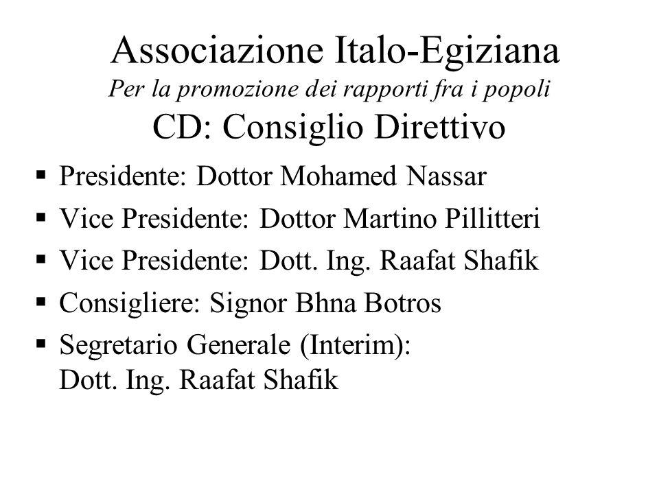 Associazione Italo-Egiziana Per la promozione dei rapporti fra i popoli CD: Consiglio Direttivo Presidente: Dottor Mohamed Nassar Vice Presidente: Dottor Martino Pillitteri Vice Presidente: Dott.