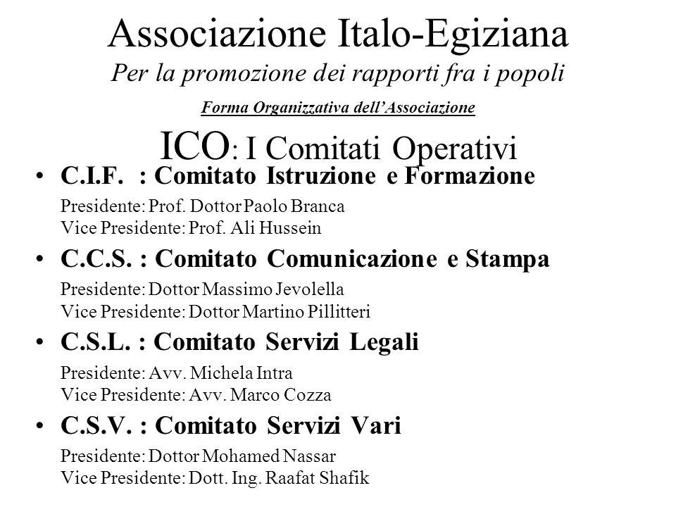 Associazione Italo-Egiziana Per la promozione dei rapporti fra i popoli Forma Organizzativa dellAssociazione ICO : I Comitati Operativi C.I.F. : Comit