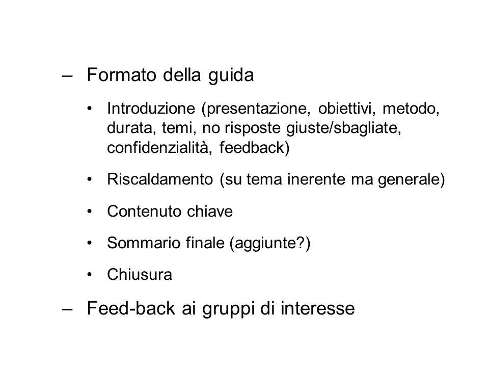–Formato della guida Introduzione (presentazione, obiettivi, metodo, durata, temi, no risposte giuste/sbagliate, confidenzialità, feedback) Riscaldame