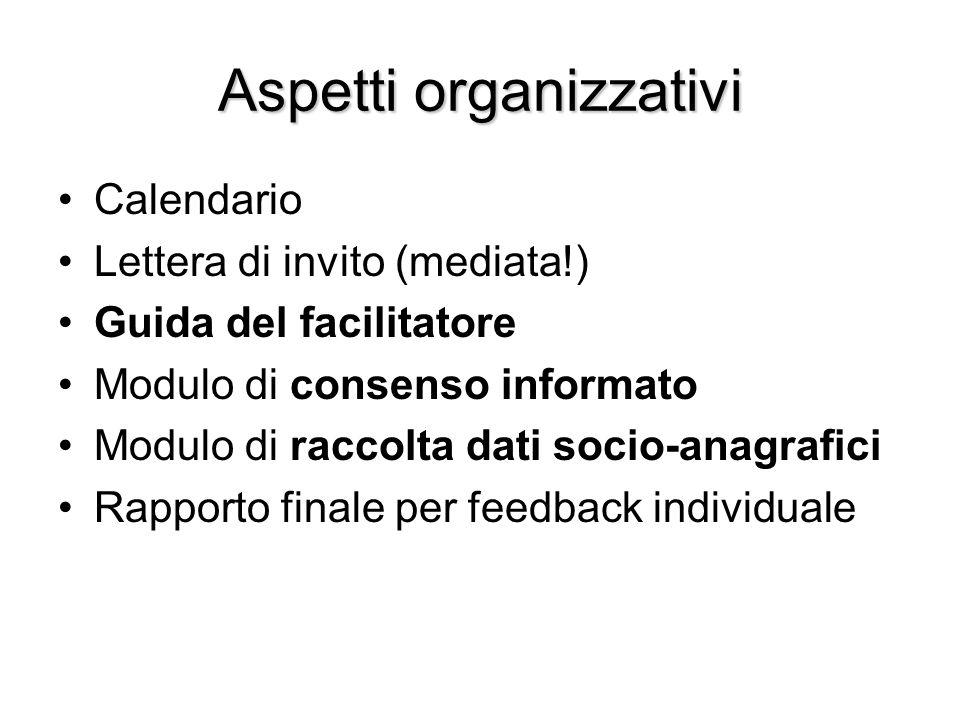 Aspetti organizzativi Calendario Lettera di invito (mediata!) Guida del facilitatore Modulo di consenso informato Modulo di raccolta dati socio-anagra