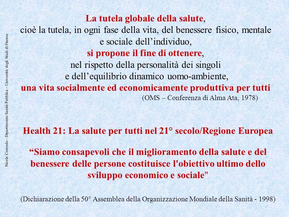Nicola Comodo – Dipartimento Sanità Pubblica – Università degli Studi di Firenze La tutela globale della salute, cioè la tutela, in ogni fase della vi