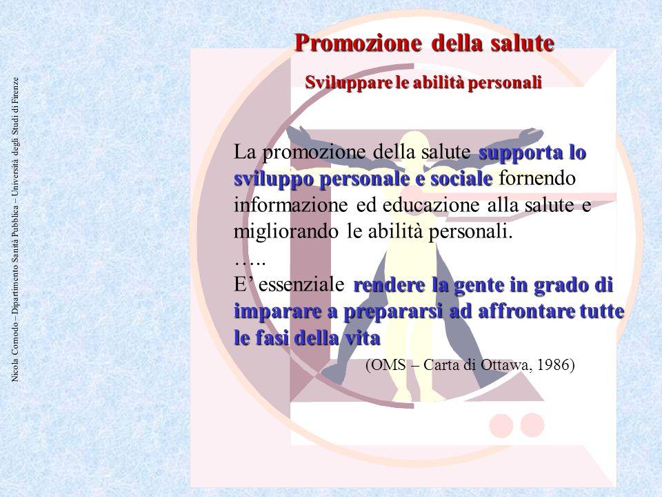 Nicola Comodo – Dipartimento Sanità Pubblica – Università degli Studi di Firenze supporta lo sviluppo personale e sociale La promozione della salute supporta lo sviluppo personale e sociale fornendo informazione ed educazione alla salute e migliorando le abilità personali.