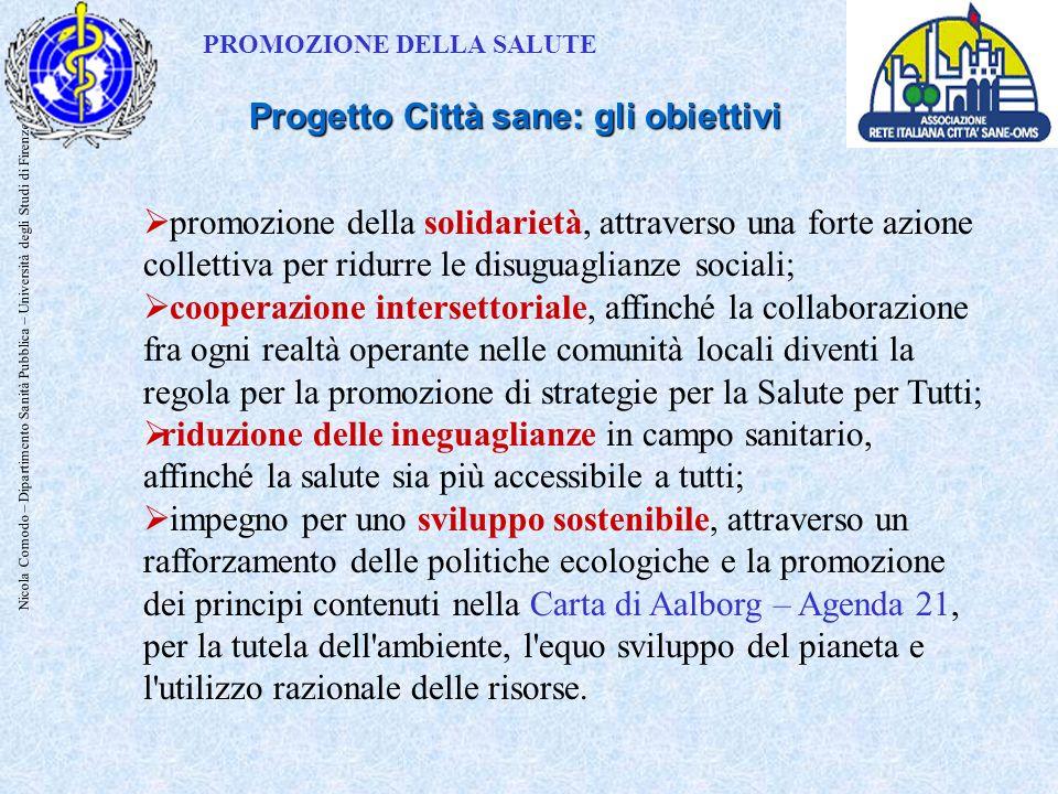 Nicola Comodo – Dipartimento Sanità Pubblica – Università degli Studi di Firenze promozione della solidarietà, attraverso una forte azione collettiva