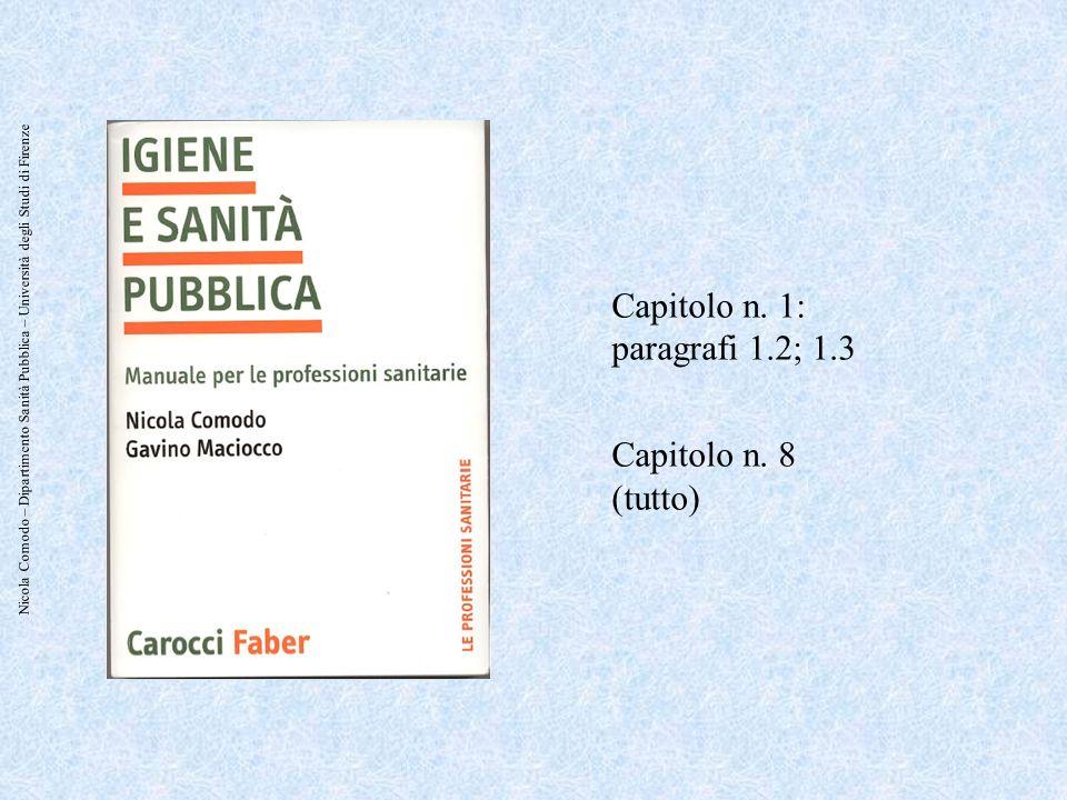 Nicola Comodo – Dipartimento Sanità Pubblica – Università degli Studi di Firenze Capitolo n. 1: paragrafi 1.2; 1.3 Capitolo n. 8 (tutto)