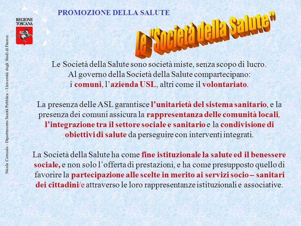 Nicola Comodo – Dipartimento Sanità Pubblica – Università degli Studi di Firenze Le Società della Salute sono società miste, senza scopo di lucro.