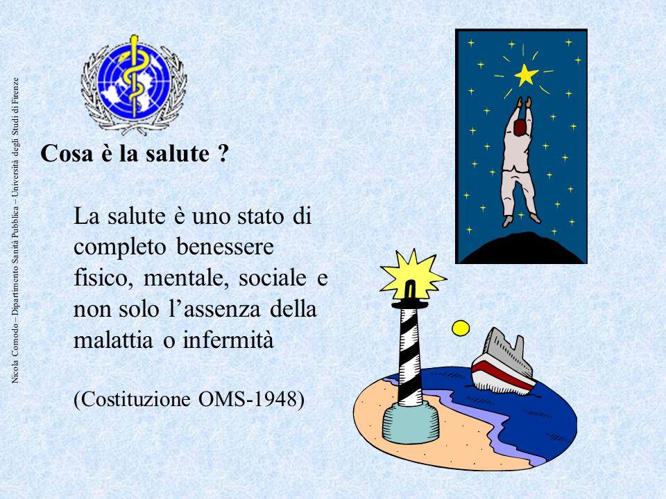 Nicola Comodo – Dipartimento Sanità Pubblica – Università degli Studi di Firenze Cosa è la salute ? La salute è uno stato di completo benessere fisico