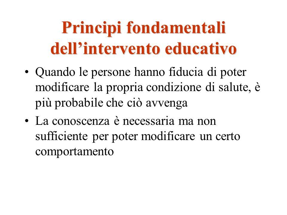 Principi fondamentali dellintervento educativo Quando le persone hanno fiducia di poter modificare la propria condizione di salute, è più probabile ch