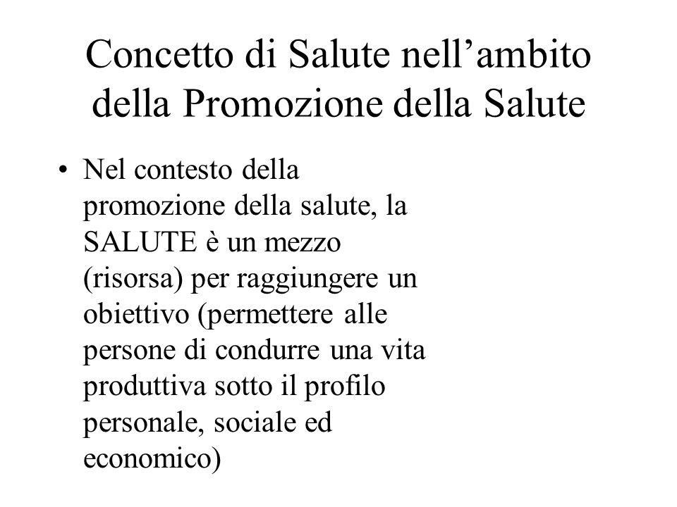 Concetto di Salute nellambito della Promozione della Salute Nel contesto della promozione della salute, la SALUTE è un mezzo (risorsa) per raggiungere