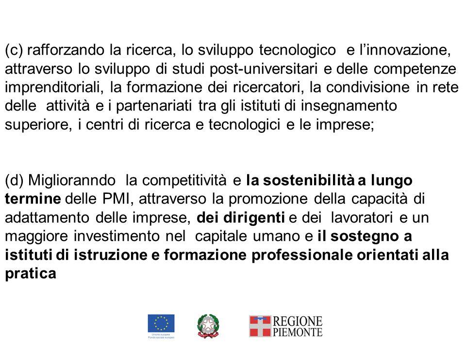 (c) rafforzando la ricerca, lo sviluppo tecnologico e linnovazione, attraverso lo sviluppo di studi post-universitari e delle competenze imprenditoria