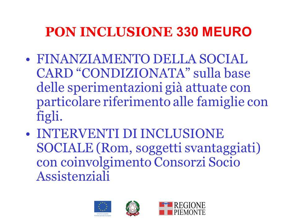 PON INCLUSIONE 330 MEURO FINANZIAMENTO DELLA SOCIAL CARD CONDIZIONATA sulla base delle sperimentazioni già attuate con particolare riferimento alle fa