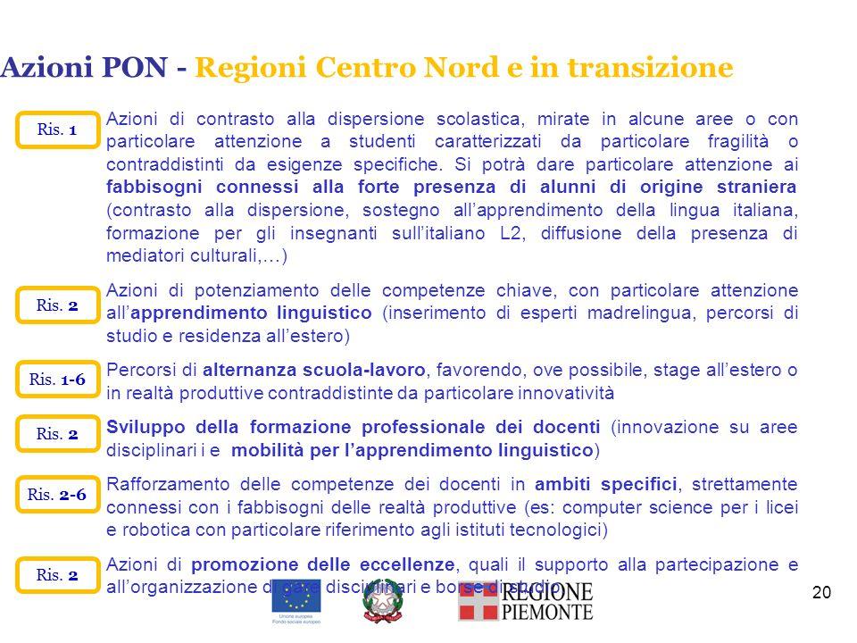 Azioni PON - Regioni Centro Nord e in transizione 20 Azioni di contrasto alla dispersione scolastica, mirate in alcune aree o con particolare attenzio