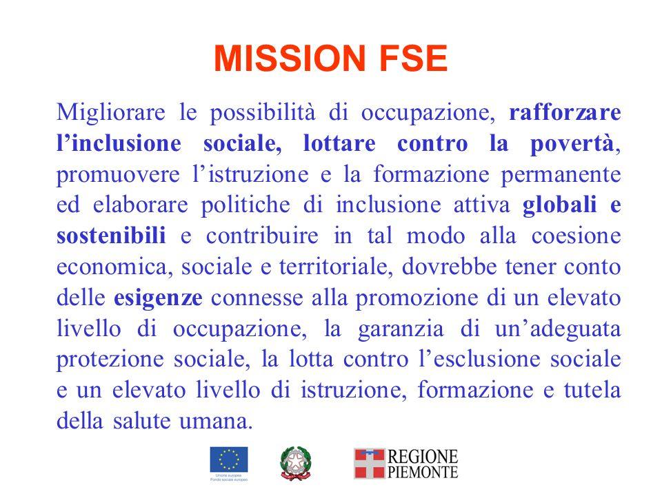 MISSION FSE Migliorare le possibilità di occupazione, rafforzare linclusione sociale, lottare contro la povertà, promuovere listruzione e la formazion