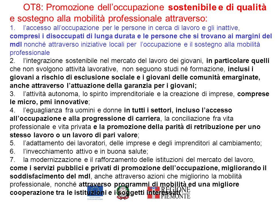 OT8: Promozione delloccupazione sostenibile e di qualità e sostegno alla mobilità professionale attraverso: 1.laccesso alloccupazione per le persone i