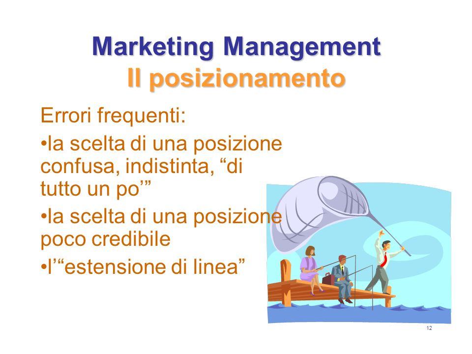 12 Marketing Management Il posizionamento Errori frequenti: la scelta di una posizione confusa, indistinta, di tutto un po la scelta di una posizione poco credibile lestensione di linea
