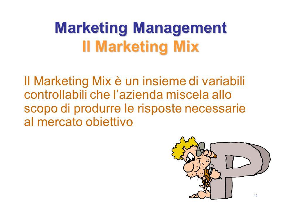 14 Marketing Management Il Marketing Mix Il Marketing Mix è un insieme di variabili controllabili che lazienda miscela allo scopo di produrre le risposte necessarie al mercato obiettivo
