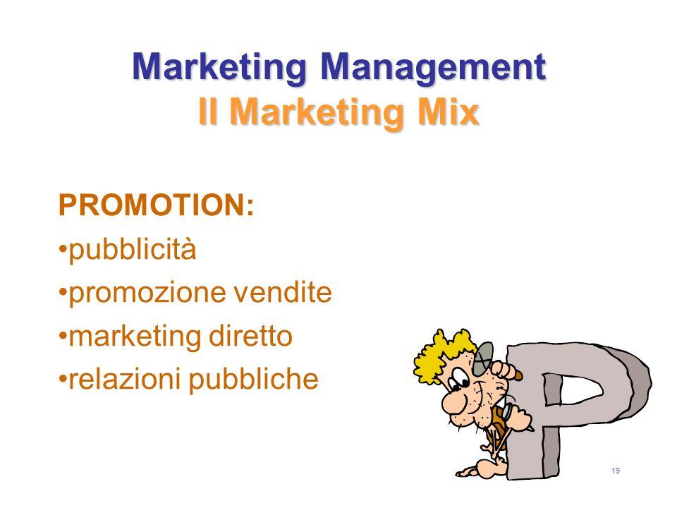 19 Marketing Management Il Marketing Mix PROMOTION: pubblicità promozione vendite marketing diretto relazioni pubbliche