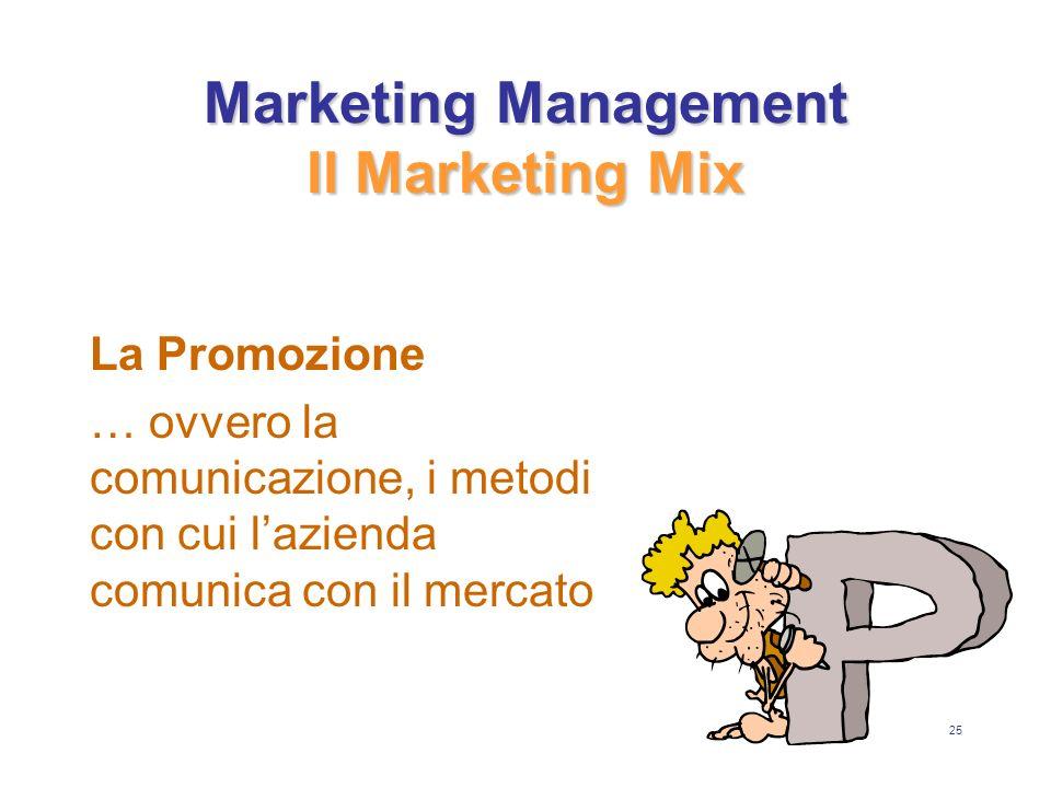 25 Marketing Management Il Marketing Mix La Promozione … ovvero la comunicazione, i metodi con cui lazienda comunica con il mercato