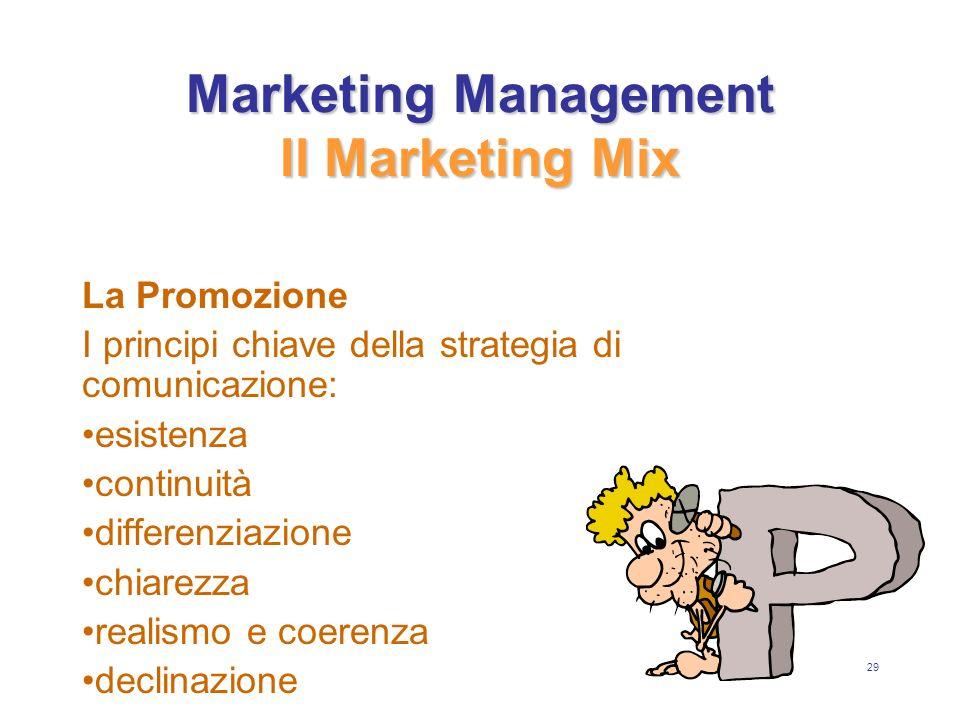 29 Marketing Management Il Marketing Mix La Promozione I principi chiave della strategia di comunicazione: esistenza continuità differenziazione chiarezza realismo e coerenza declinazione