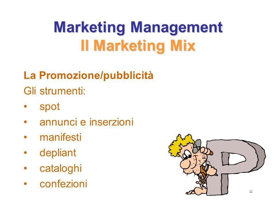 32 Marketing Management Il Marketing Mix La Promozione/pubblicità Gli strumenti: spot annunci e inserzioni manifesti depliant cataloghi confezioni