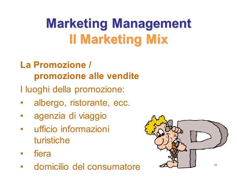 38 Marketing Management Il Marketing Mix La Promozione / promozione alle vendite I luoghi della promozione: albergo, ristorante, ecc.