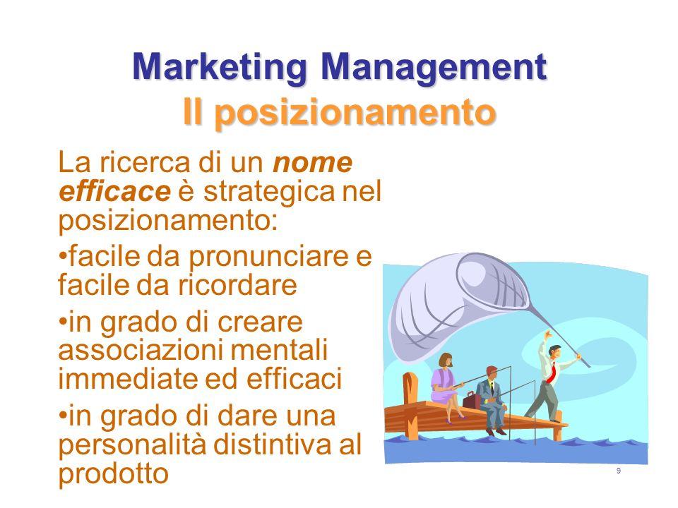 10 Marketing Management Il posizionamento Unazienda deve cercare il suo posizionamento: sulla base di caratteristiche viste nellottica dei consumatori e comunicati di conseguenza sulla base di vantaggi proposti in base alle occasioni duso o agli utilizzatori competitivo sulla base della specializzazione in base alla tradizione in base alle radici