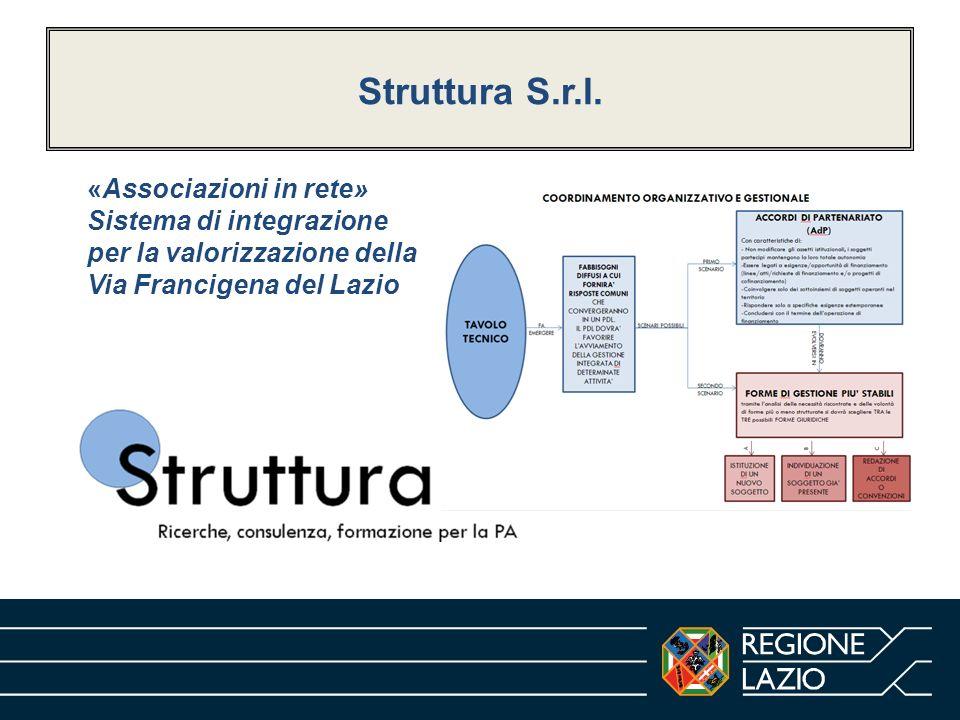 Struttura S.r.l. «Associazioni in rete» Sistema di integrazione per la valorizzazione della Via Francigena del Lazio