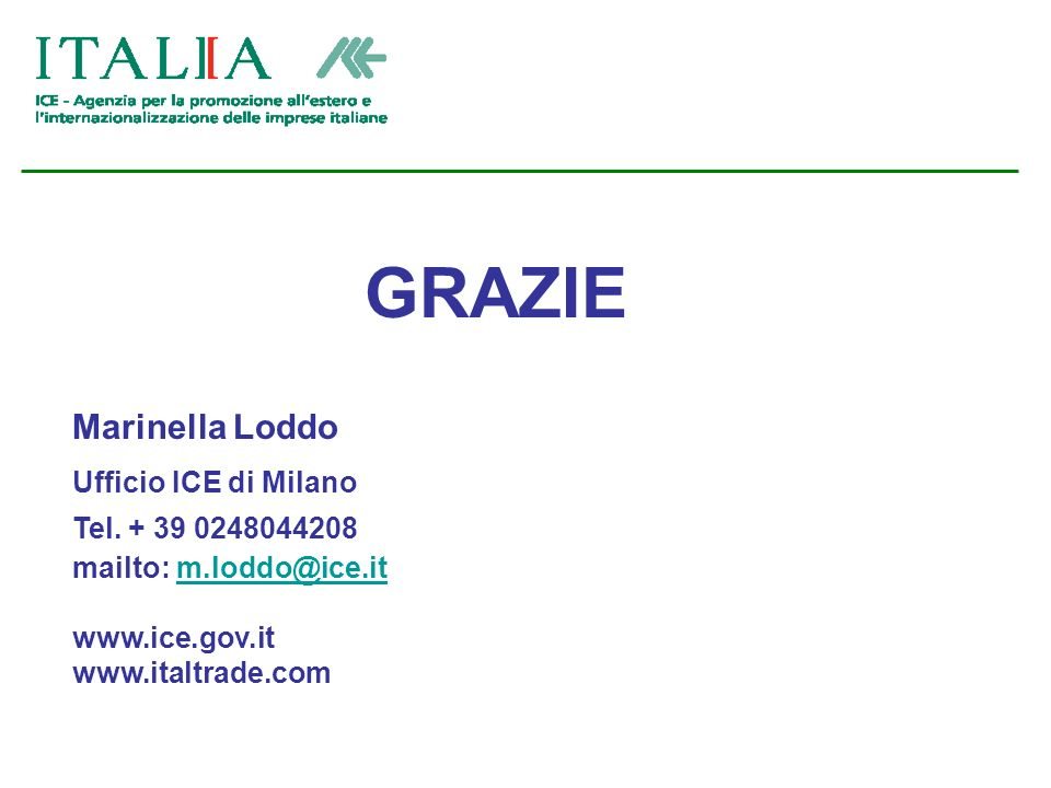 GRAZIE Marinella Loddo Ufficio ICE di Milano Tel.