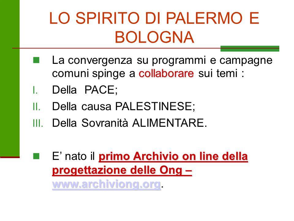 LO SPIRITO DI PALERMO E BOLOGNA collaborare La convergenza su programmi e campagne comuni spinge a collaborare sui temi : I. Della PACE; II. Della cau
