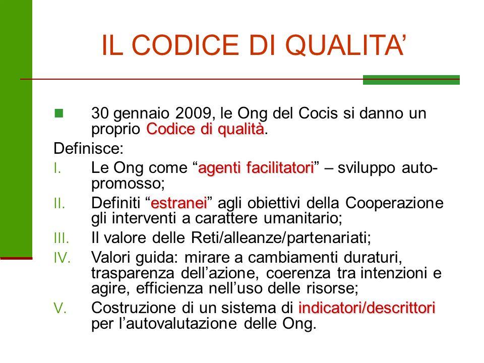IL CODICE DI QUALITA Codice di qualità 30 gennaio 2009, le Ong del Cocis si danno un proprio Codice di qualità. Definisce: agenti facilitatori I. Le O