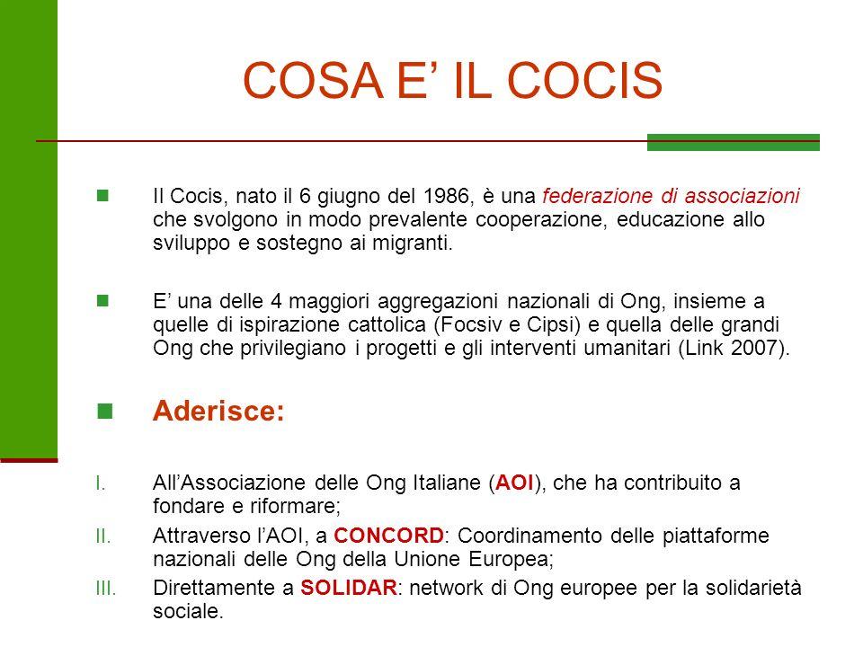 COSA E IL COCIS Il Cocis, nato il 6 giugno del 1986, è una federazione di associazioni che svolgono in modo prevalente cooperazione, educazione allo s