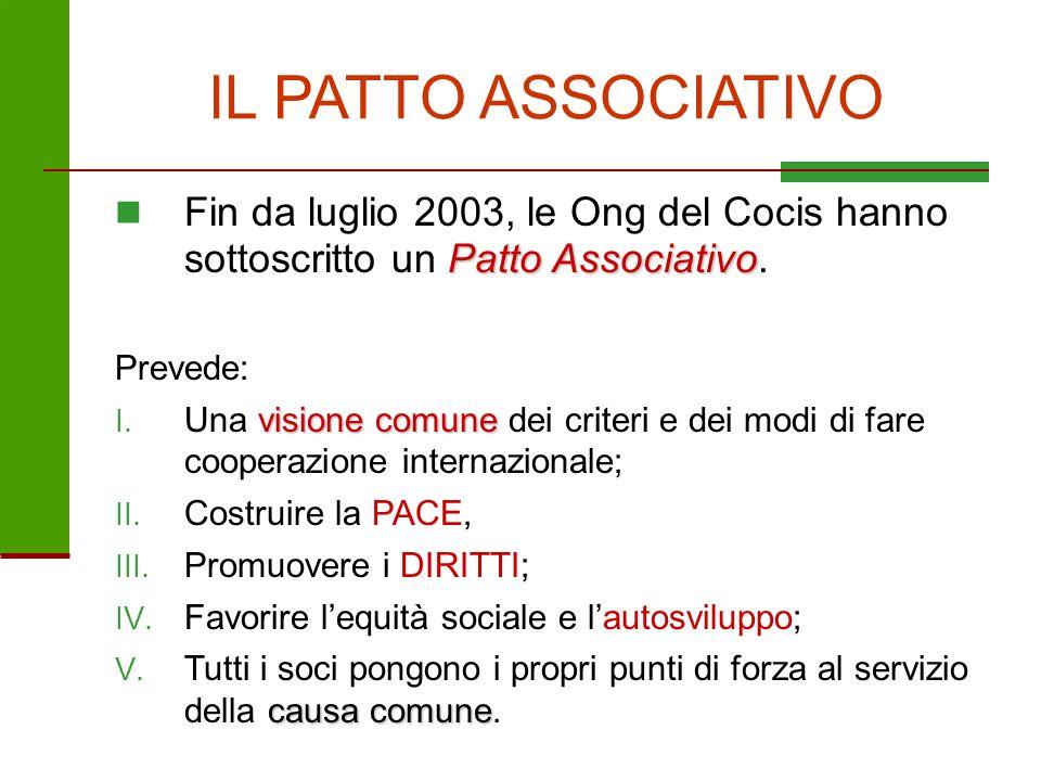 IL PATTO ASSOCIATIVO Patto Associativo Fin da luglio 2003, le Ong del Cocis hanno sottoscritto un Patto Associativo. Prevede: visione comune I. Una vi