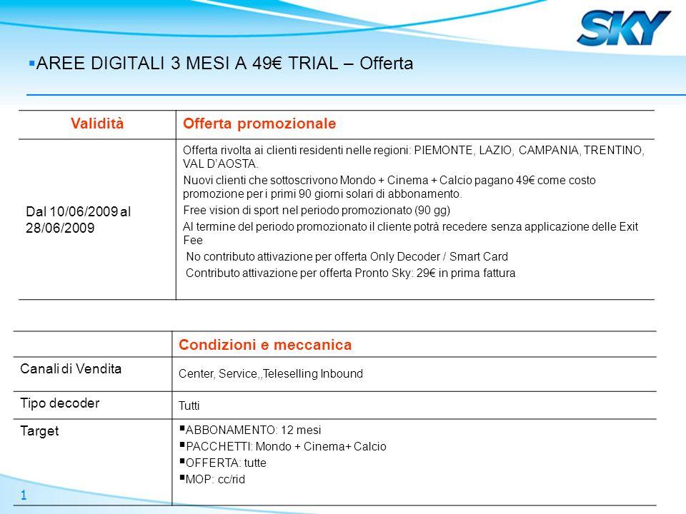 1 AREE DIGITALI 3 MESI A 49 TRIAL – Offerta ValiditàOfferta promozionale Dal 10/06/2009 al 28/06/2009 Offerta rivolta ai clienti residenti nelle regioni: PIEMONTE, LAZIO, CAMPANIA, TRENTINO, VAL DAOSTA.