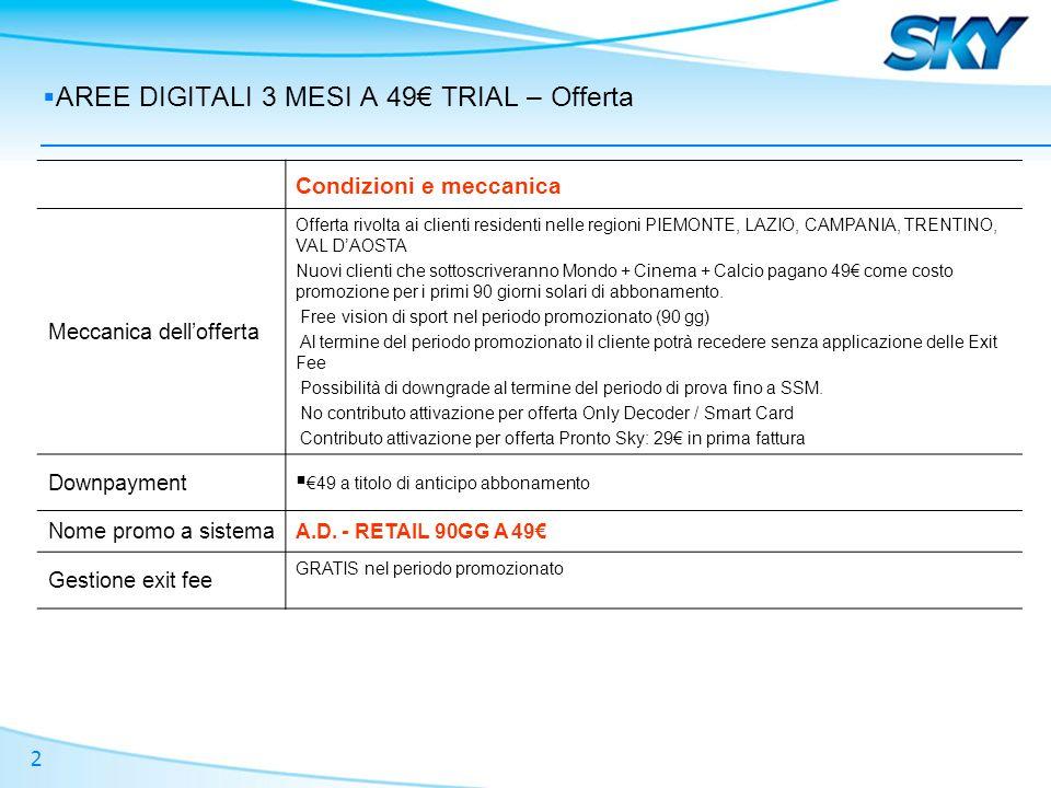 2 AREE DIGITALI 3 MESI A 49 TRIAL – Offerta Condizioni e meccanica Meccanica dellofferta Offerta rivolta ai clienti residenti nelle regioni PIEMONTE,