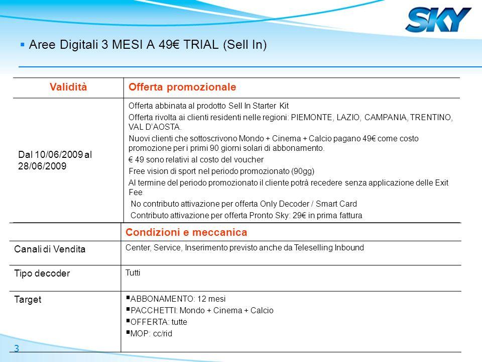 3 Aree Digitali 3 MESI A 49 TRIAL (Sell In) ValiditàOfferta promozionale Dal 10/06/2009 al 28/06/2009 Offerta abbinata al prodotto Sell In Starter Kit Offerta rivolta ai clienti residenti nelle regioni: PIEMONTE, LAZIO, CAMPANIA, TRENTINO, VAL DAOSTA.