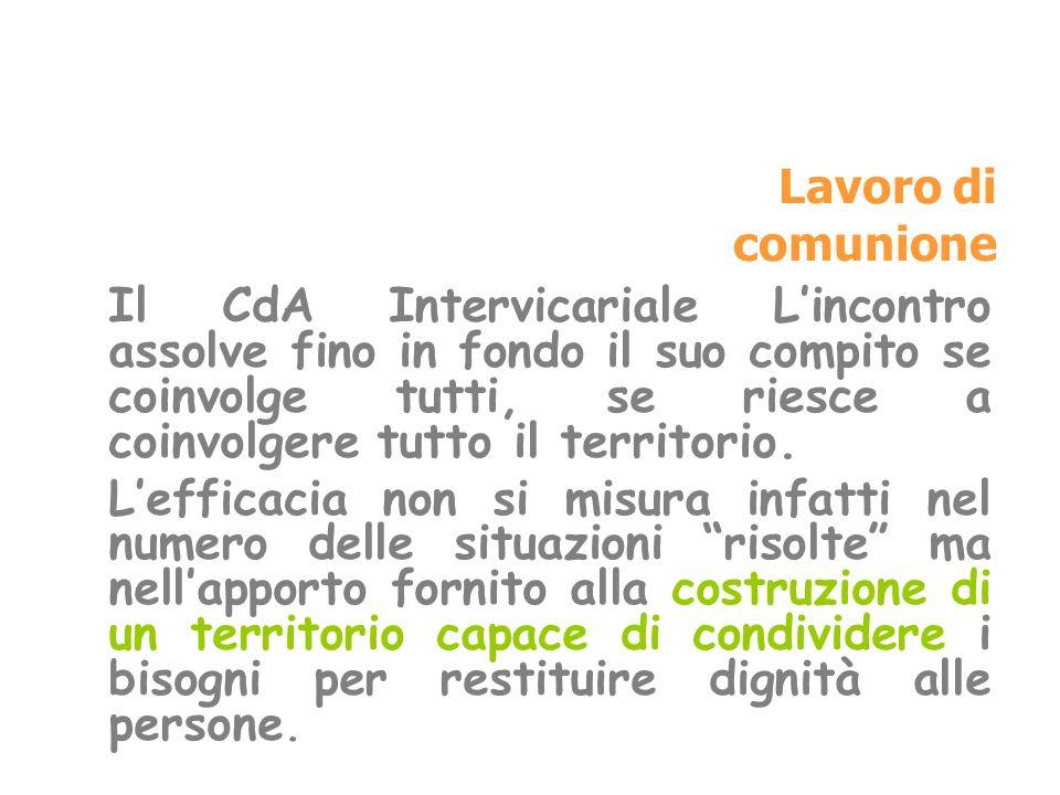 Lavoro di comunione Il CdA Intervicariale Lincontro assolve fino in fondo il suo compito se coinvolge tutti, se riesce a coinvolgere tutto il territor