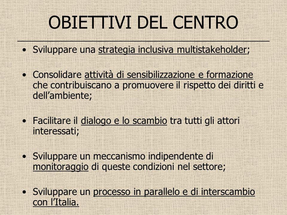 OBIETTIVI DEL CENTRO __________________________________________________________ Sviluppare una strategia inclusiva multistakeholder; Consolidare attiv