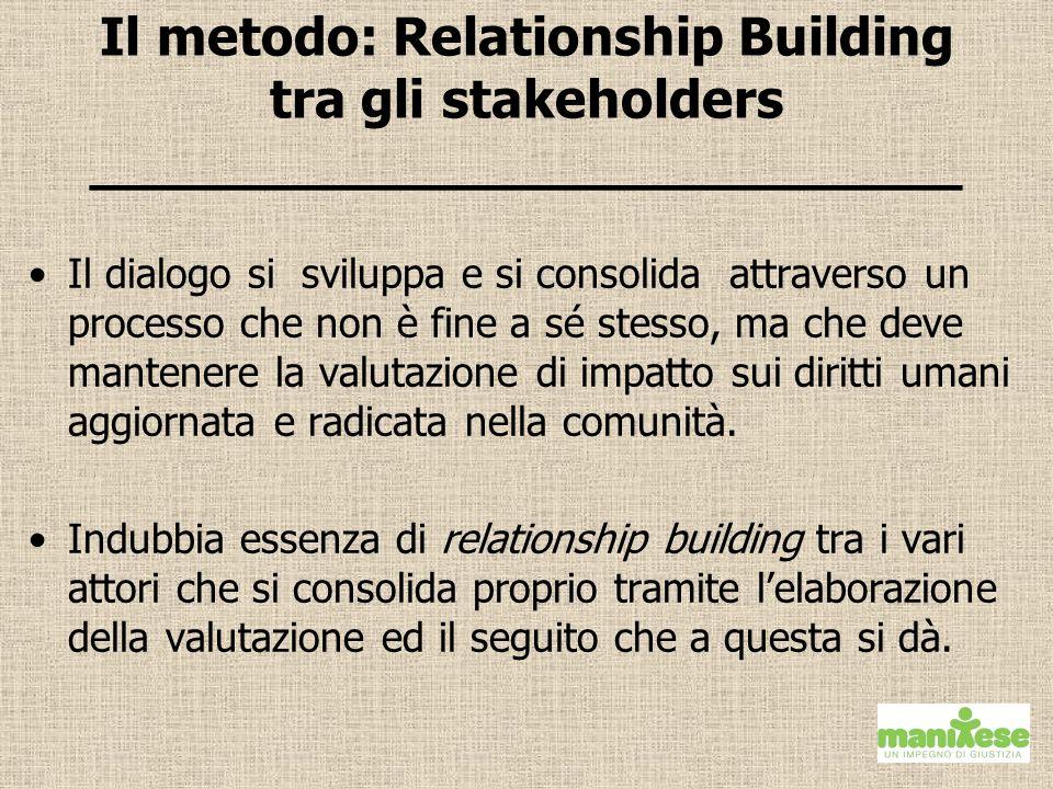 Il metodo: Relationship Building tra gli stakeholders __________________________ Il dialogo si sviluppa e si consolida attraverso un processo che non