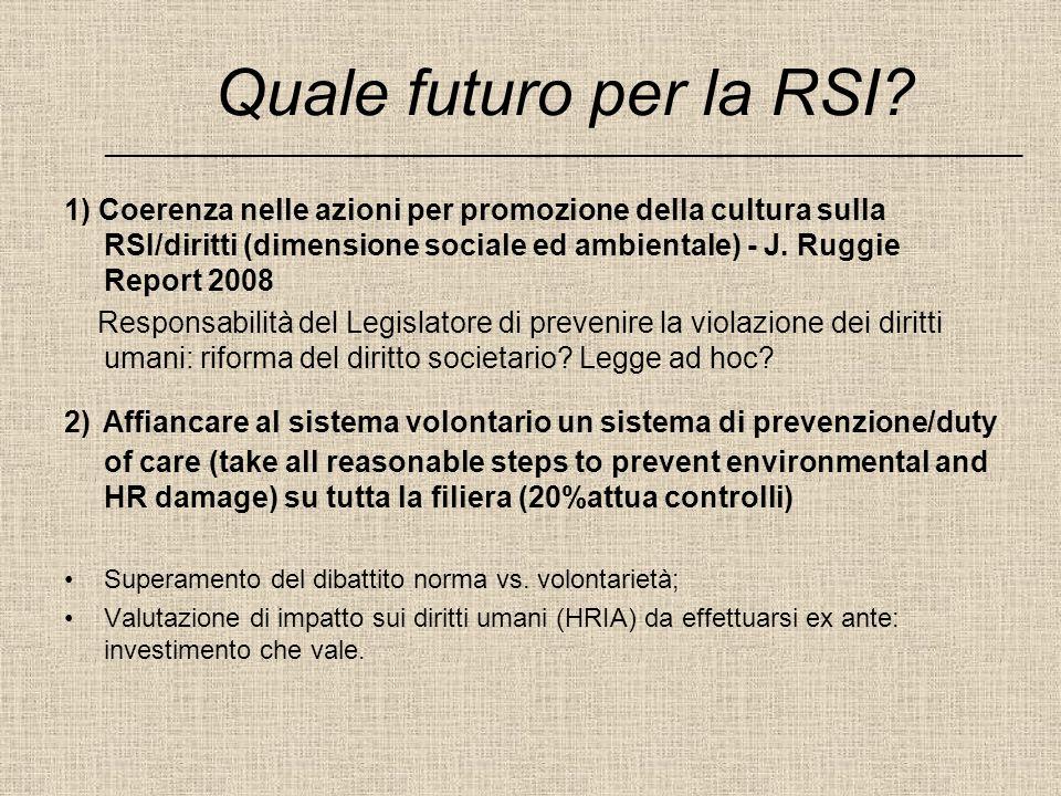 Quale futuro per la RSI? ______________________________________________________________________ 1) Coerenza nelle azioni per promozione della cultura