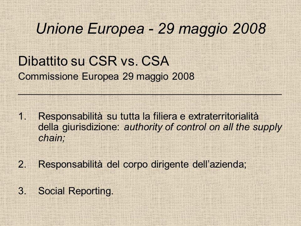 Unione Europea - 29 maggio 2008 Dibattito su CSR vs. CSA Commissione Europea 29 maggio 2008 _______________________________________________ 1.Responsa