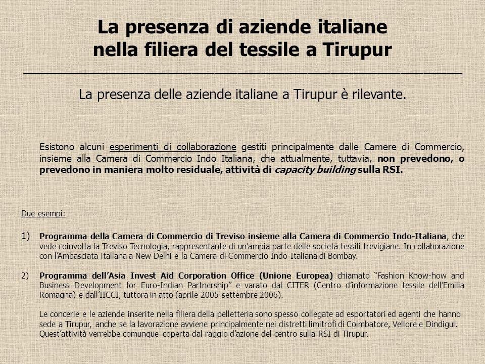 La presenza di aziende italiane nella filiera del tessile a Tirupur _________________________________________________________ La presenza delle aziend